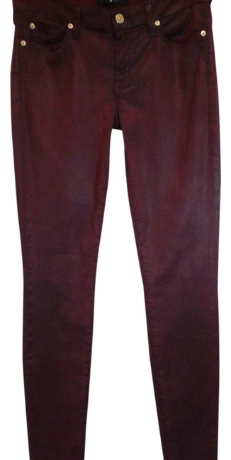 Item - Burgundy / Wine Coated Faux Crackle Leather Skinny Jeans Size 30 (6, M)