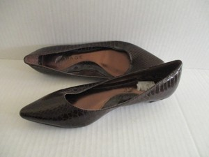 Rampage Pointed Toe Rich Brown Croc Flats