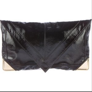 Brian Atwood Atwood Patent Leather Mattie Envelope Gold Hardware Black Clutch