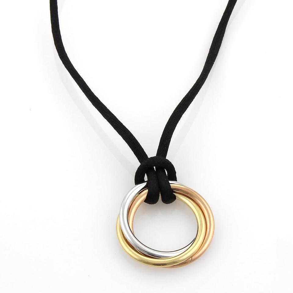 Cartier yellow rose white trinity 18k tricolor gold triple rings cartier cartier trinity 18k tricolor gold triple rings pendant cord necklace mozeypictures Choice Image