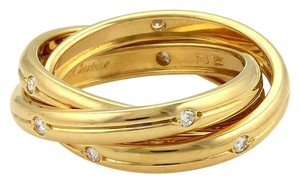 Cartier Cartier Trinity Diamonds 18k Gold 3mm Grooved 3 Band Ring Size 55-US 7