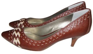 Adrienne Vittadini Fine Leather Leather Braided Designer brown with neutral accents Pumps