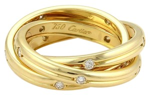 Cartier Cartier Trinity Diamonds 18k YGold Grooved 3 Band Ring Size 50-US 5.25