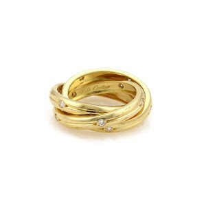Cartier Cartier Trinity Diamond 18k YGold 3 Grooved Band Ring Size EU 48-US 4