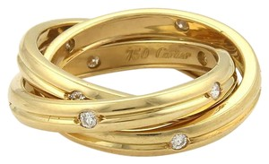 Cartier Cartier Trinity Diamond 18k YGold 3 Grooved Band Ring Size 50-US 5.25