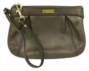 Coach Fits Iphone Leather Pleated Capacity Wristlet in Bronze