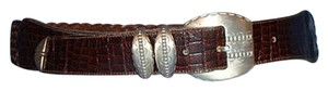 Other Western Braided Belt Woven Brown Leather Silver Tone Metal Buckle Vtg