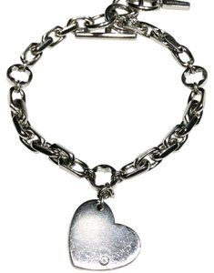 Montblanc MONTBLANC STAR SIGNET WITH DIAMOND HEART TAG CHARM STERLING SILVER .925 BRACELET