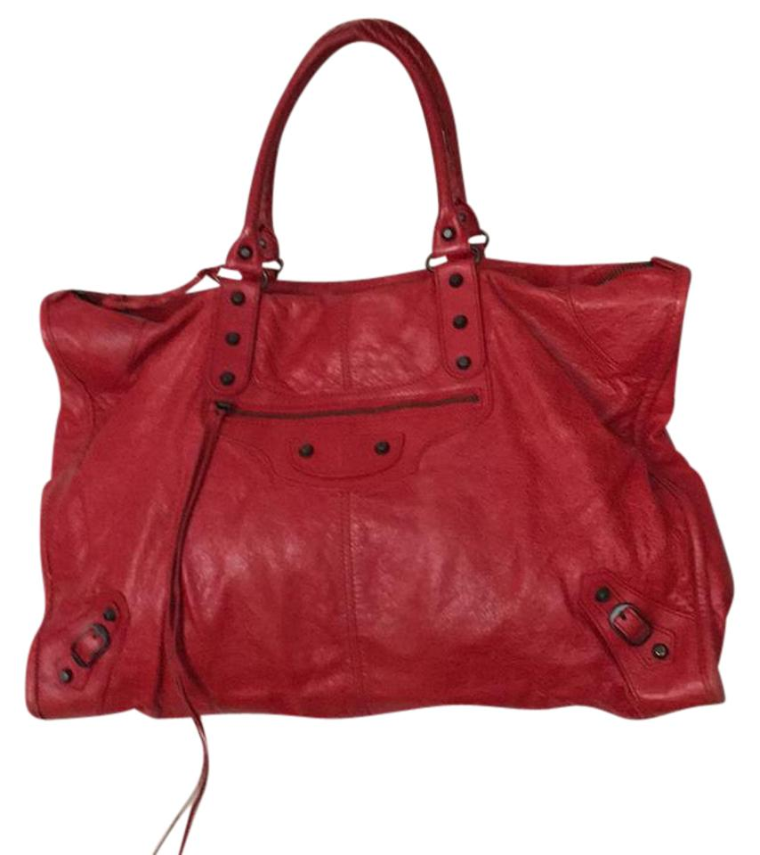 7dfee13bff Balenciaga Cherry Red Leather Weekend Travel Bag - Tradesy
