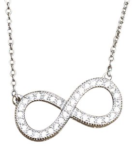 Other Rhodium Plated Pave Cubic zirconia Infinity Necklace 18 inches