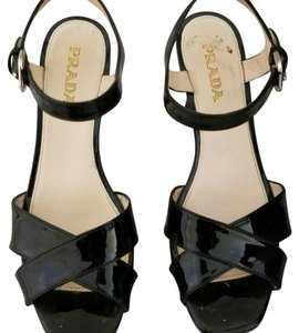 Prada Black Patent leather Wedges