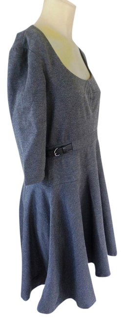Item - Charcoal Grey Tailored Leather Buckles Short Work/Office Dress Size 8 (M)