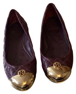 Tory Burch dark purple gold tips Flats