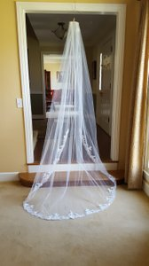 Bel Aire Bridal One Tier Rolled Edge & Beaded Lace Cathedral Length