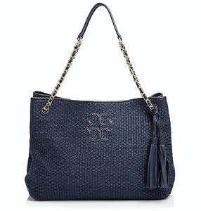 Tory Burch Straw Thea Tassels Beach Logo Tote in Navy Blue