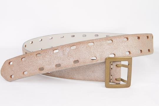 Gap Cow Suede Belt in Washed Gold With Double Prongs - Size S
