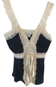 Miguelina Top Black silk and cream lace