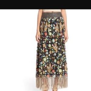 Alice + Olivia Skirt Black with Colored Embroidery