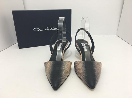 Oscar de la Renta Pointed Toe Medium Heel Height Slingback Print Natural Black Snake Pumps Image 1