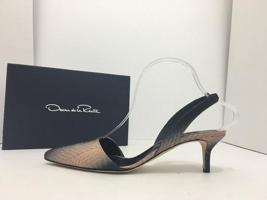 Oscar de la Renta Pointed Toe Medium Heel Height Slingback Print Natural Black Snake Pumps Image 4