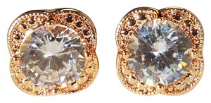 Other Brilliant Picture Perfect Rose Gold Plated CZ Stud Earrings