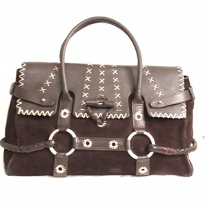 Luella Tote Leather Suede Designer Satchel in Dark Brown