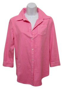 Elizabeth and James 3/4 Sleeve Hot Zipper Back Size Small Button Down Shirt Pink