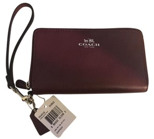 Coach NEW COACH double zip Ieather Phone+ Wallet Wristlet 54016 Burgundy