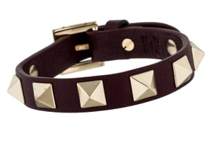 Valentino Burgundy red Valentino leather gold-tone Rockstud pyramid bracelet