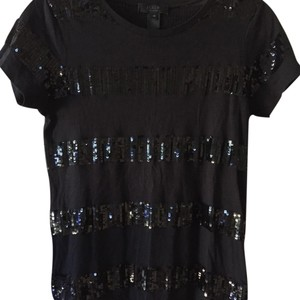 J.Crew Sequin Cotton Striped T Shirt black