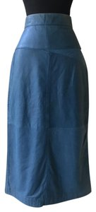 Tannery West Vintage Leather Blue Skirt Green