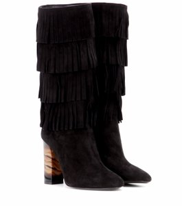 Burberry Knee High High Heels Suede Upper Black Boots