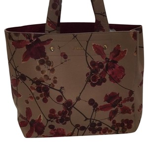 Furla Tote in Tan and Cranberry