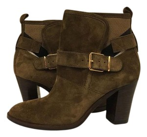 Burberry Ankle High Heels Bronze (Brown) Suede Boots