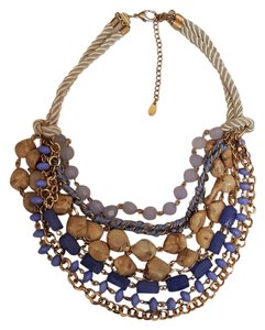 Chico's Chicos signed chunky Beige Blue Gold Plated statement necklace. Stunni