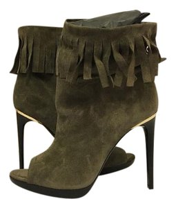 Burberry Ankle High Heels Size 8.5 Military Khaki Suede Boots