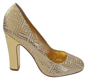 Tory Burch Colin Initials Off White Size 7.5 Cream, Gold Metallic Pumps