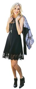 Free People Fit & Flare Sz Small Black Crochet Is Dress