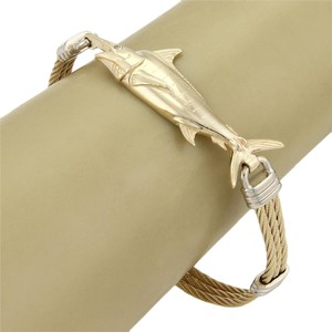 Modern Vintage #20275 Vanmark Diamond 14k Gold Swordfish Triple Row Cable Bracelet