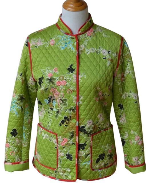 Item - Green W/ Red Pink Blue + L Asian Style Silk Lightly Quilted New Jacket Size 12 (L)