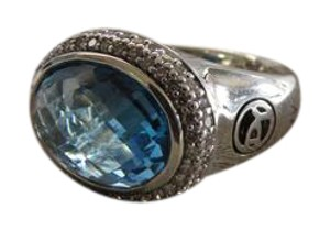 David Yurman DY Signature Oval Collection East/West 14x10mm Blue Topaz/Diamond