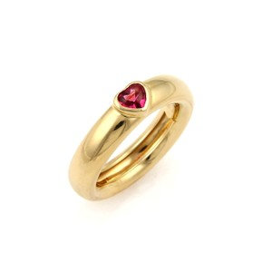 Tiffany & Co. Tiffany & Co. Pink Tourmaline Heart 18k Yellow Gold 5mm Wide Band Ring