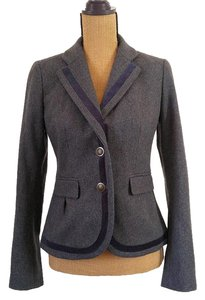 Ann Taylor LOFT Wool 2 Button Oxford Classic Pleated Gray, navy Blazer