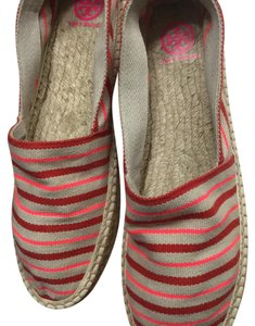 Tory Burch Red,Orange Stripes with Khaki tan background Flats