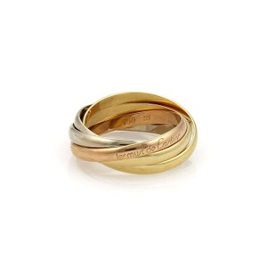 Cartier Cariter Trinity 18k Tricolor Gold 5 Rolling Band Ring Size EU55-US 7.5