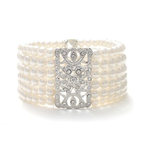 Mariell Mariell Ivory Pearl Vintage Stretch Bracelet