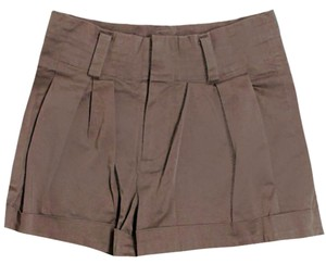 Alice + Olivia Mid-rise Pleated Cuffed Shorts Brown