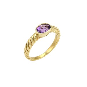 David Yurman David Yurman Amethyst Cable 18k Yellow Gold Ring