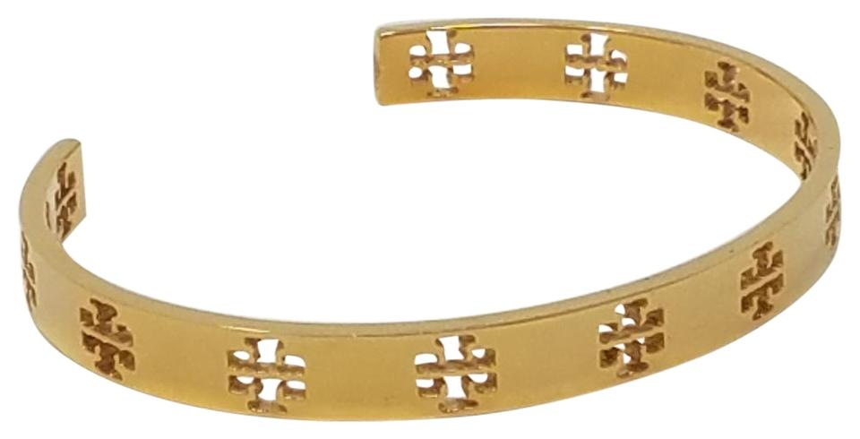 Tory Burch Gold Tone Pierced T Perforated Cuff Bracelet