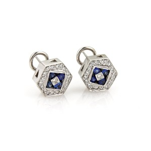 Mayor's #19103 Mayor's Diamond & Sapphire 18k Gold Octagon Post Clip Earrings